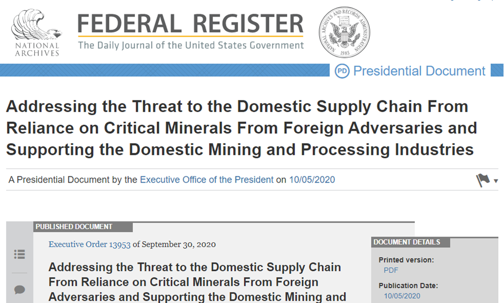 https://www.federalregister.gov/documents/2020/10/05/2020-22064/addressing-the-threat-to-the-domestic-supply-chain-from-reliance-on-critical-minerals-from-foreign